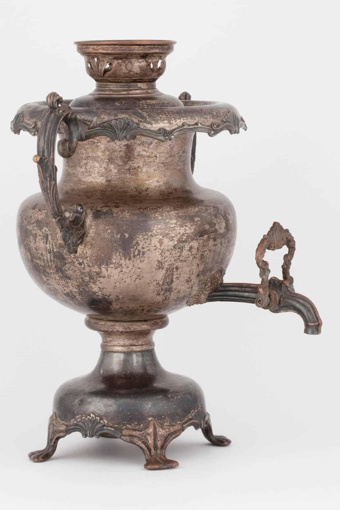 КБ 459 | Самовар-ваза с серебряным бордюром | Музей самоваров и бульоток