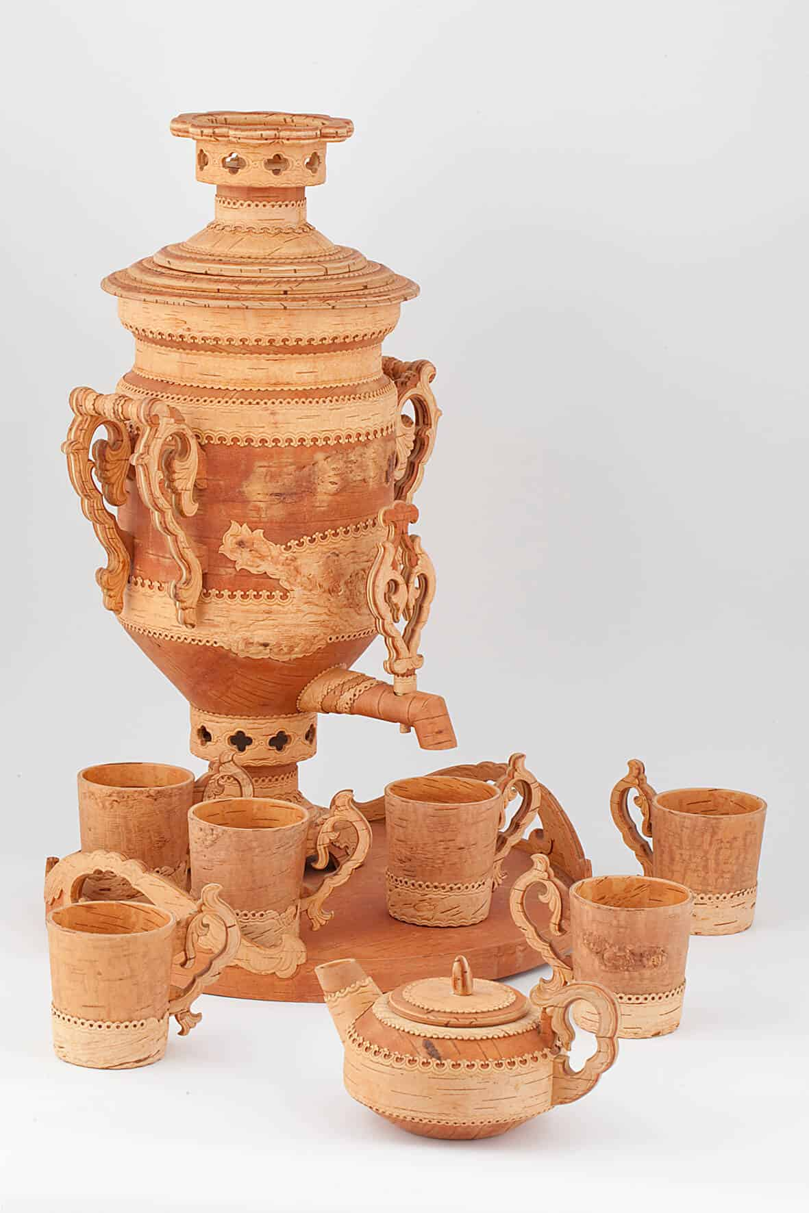 КБ 498-506 | Самовар декоративный берестяной с сервизом | Музей самоваров и бульоток