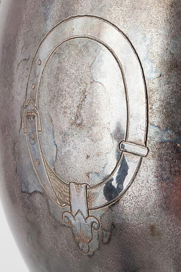 КБ 523 | Самовар яйцевидный с гравированным медальоном | Музей самоваров и бульоток