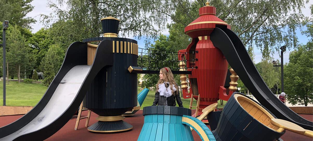 уникальная детская игровая площадка в форме самовара