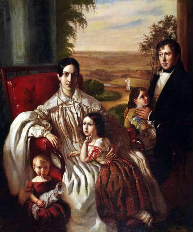 Семейный портрет Нащокиных П.В. и В.А. 1840-е гг.