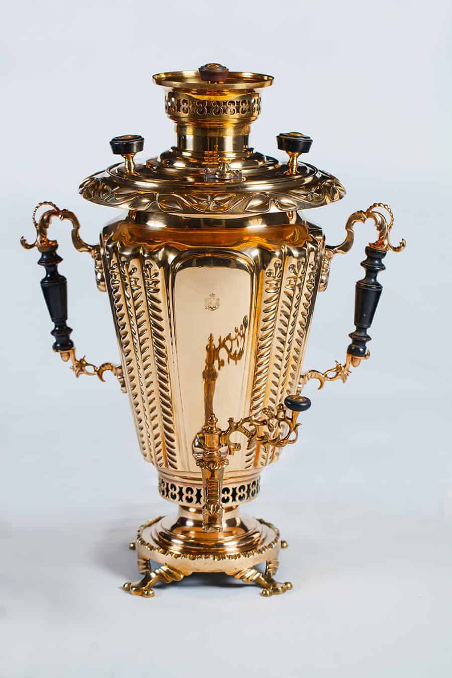Conical shaped samovar with decorated embossed ring and double faucet. Brothers Alexei and Ivan Batashev's Works, early XXc. Private collection of M.Borshchev.