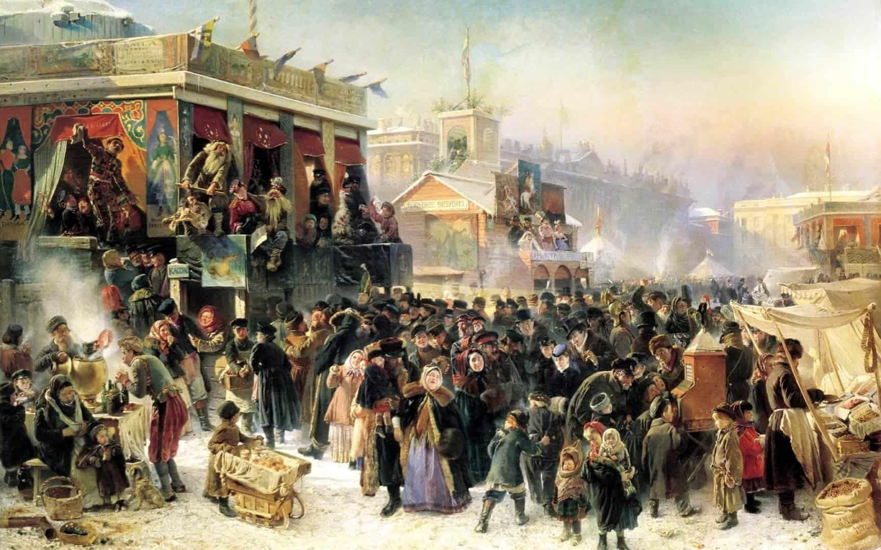 К. Е. Маковский. Народные гуляния во время Масленицы на Адмиралтейской площади в Петербурге. 1869 г.