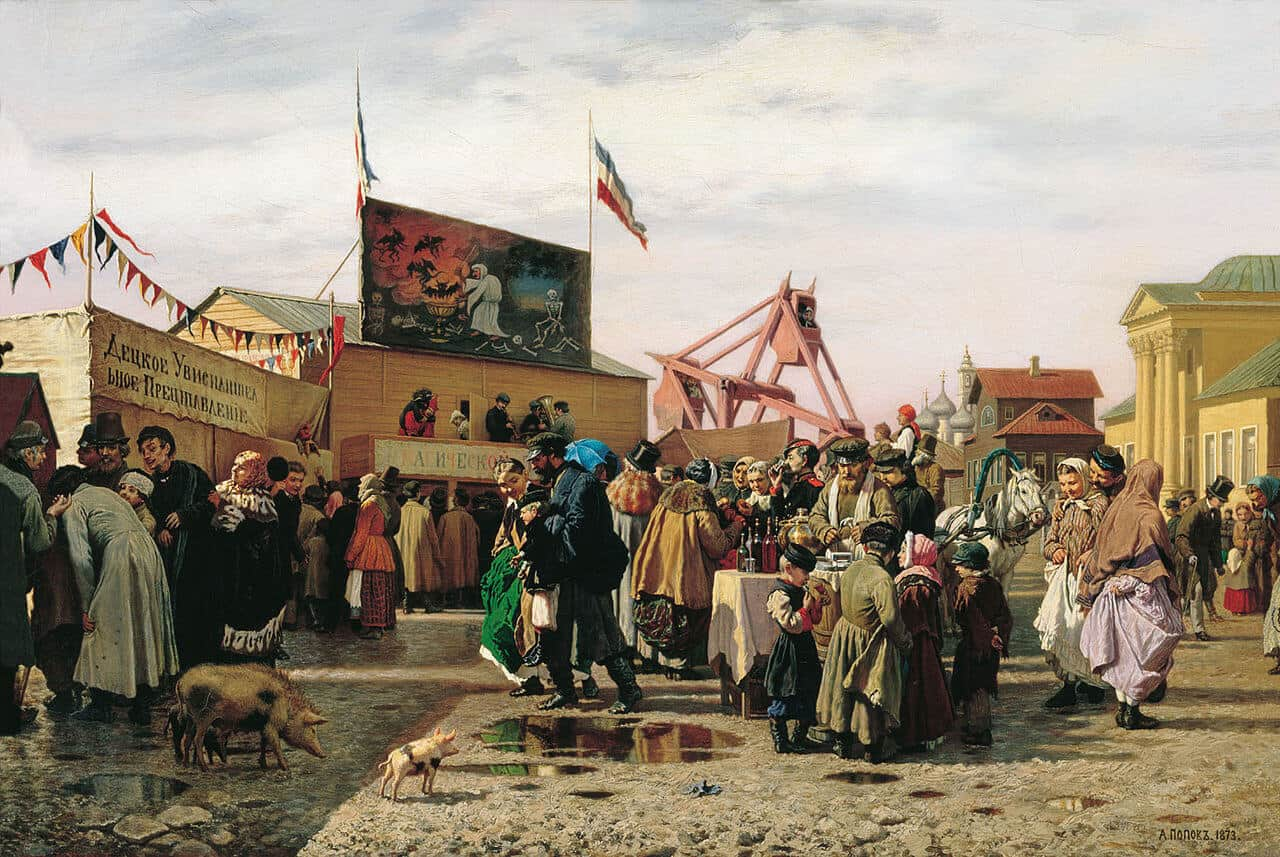 A. A. Popov. Buffoonery in Tula on Holy week. 1873, State Russian Museum