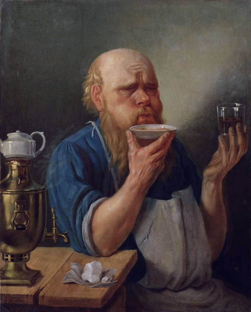 A.A.Popov, Craftsman Drinking Tea, 1865. Private collection