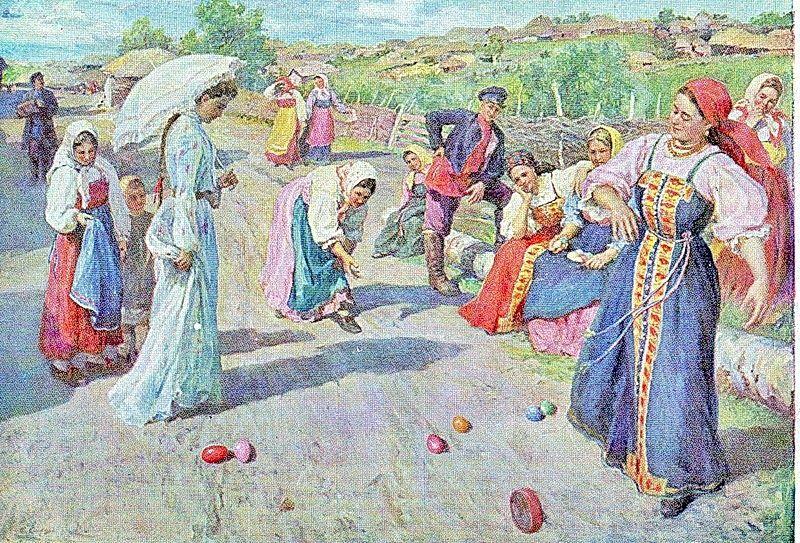 Ф. В. Сычков. Игры на Пасху. 1904 г.