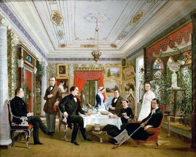 А. Я. Волосков. За чайным столом. 1851 г.