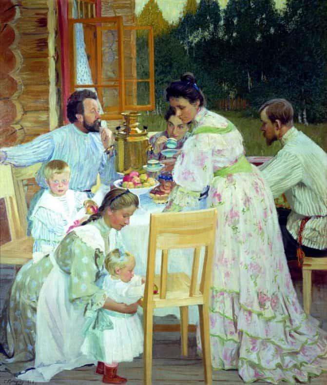 Б. М. Кустодиев. На террасе. 1906 г. Нижегородский художественный музей