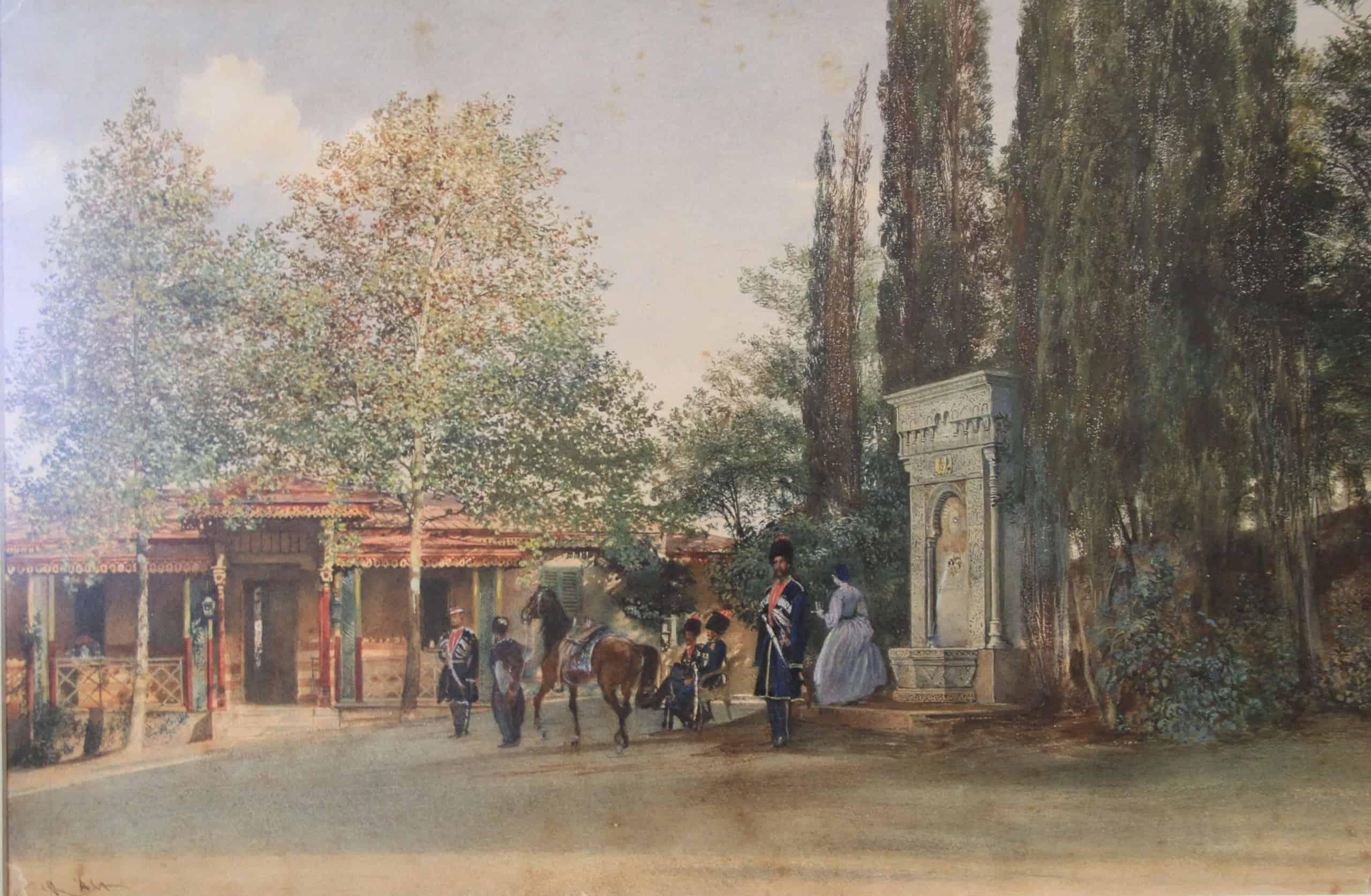 Р. фон Альт. «Мавританский» фонтан в парке Ливадии. 1863 г.