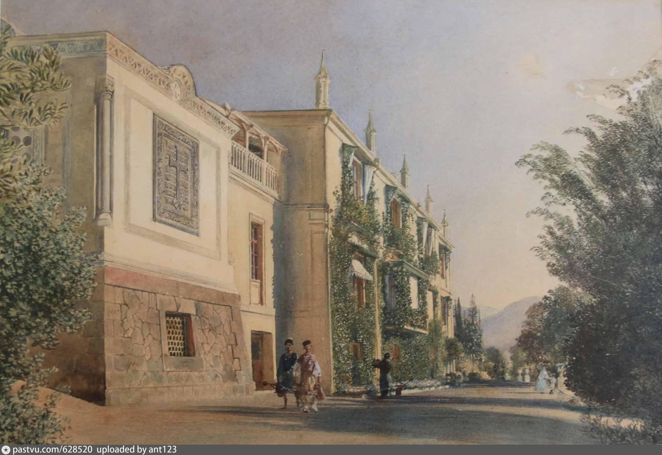 Р. фон Альт. Южный фасад Большого дворца в Ливадии. 1863 г.