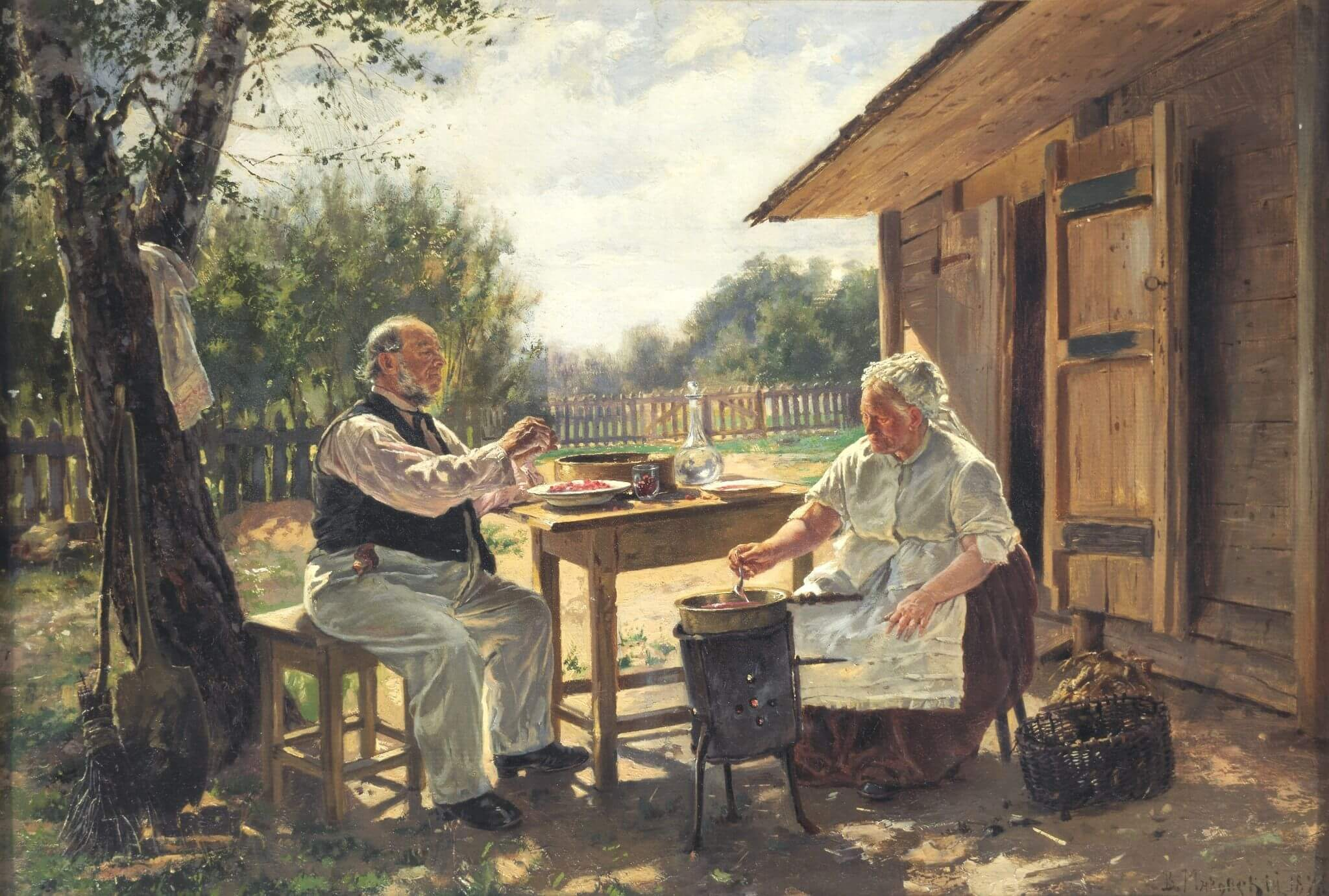 В. Е. Маковский. «Варят варенье». 1876 г. Из коллекции Третьяковской галереи.