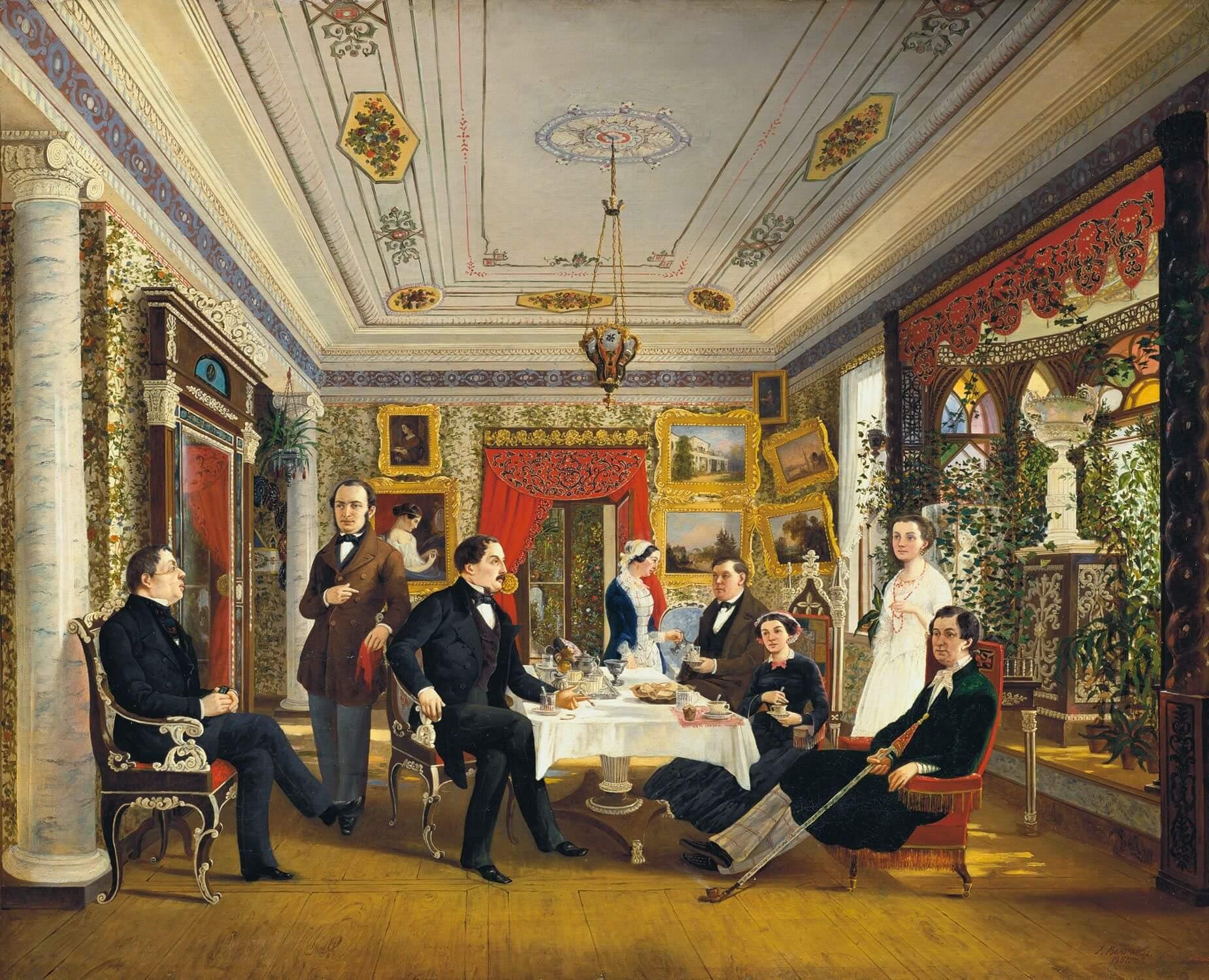 Е. А. Волосков «За чайным столом». 1851 г. Из коллекции Русского музея.