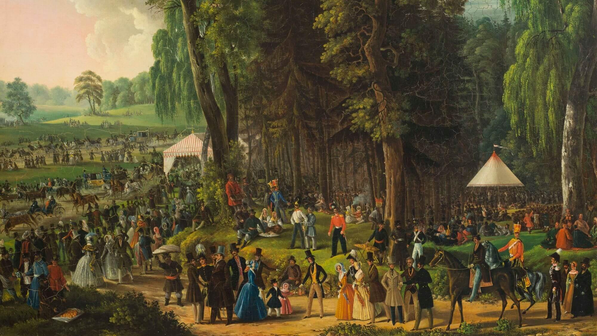 Неизвестный художник «Гуляние 1 мая в Сокольниках». 1840-е гг. ГИМ.