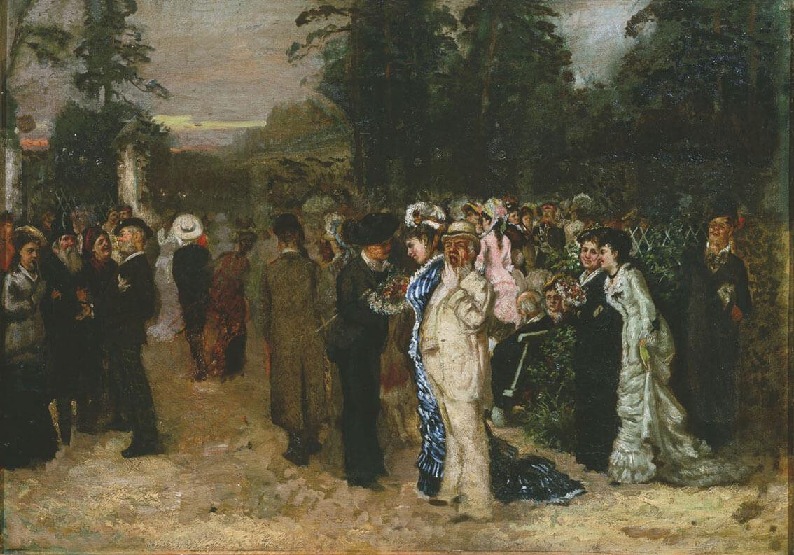 Н. П. Чехов. «Гуляние в Сокольниках». 1879 г. Государственный литературный музей.