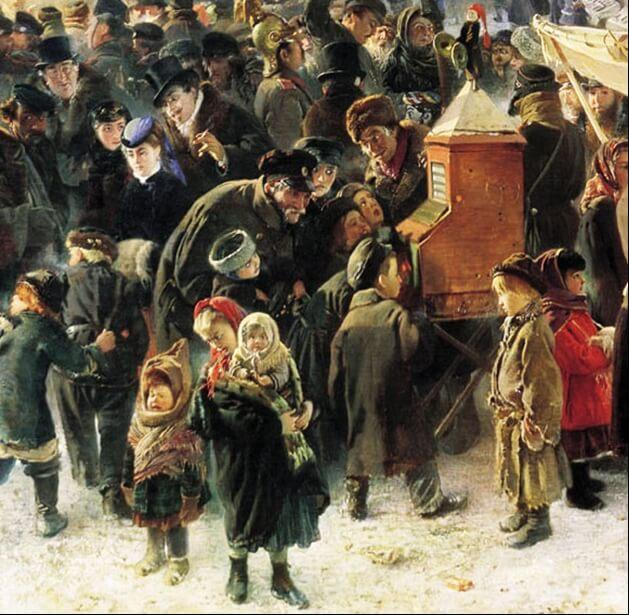 Раёк. Фрагмент картины К. Маковского «Народные гуляния на масленицу», Русский музей. 1869 г.